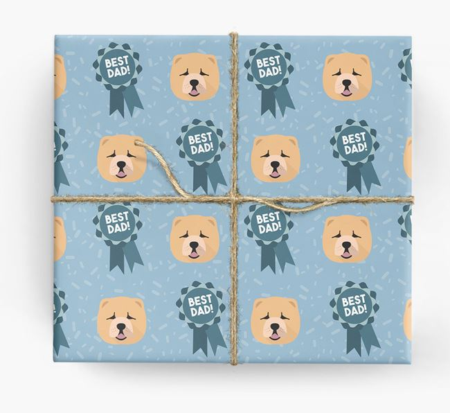 'Best Dad' Ribbon Wrapping Paper with Chow Chow Icons