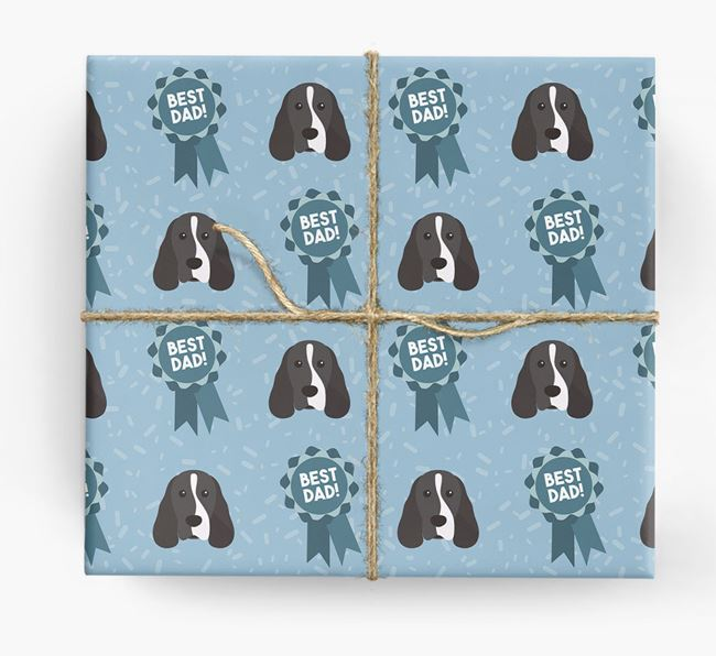 'Best Dad' Ribbon Wrapping Paper with Cocker Spaniel Icons
