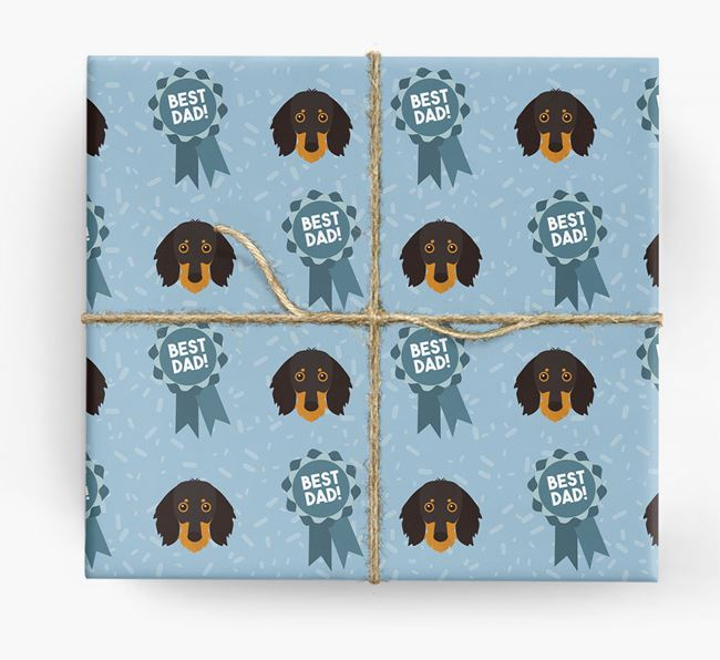 'Best Dad' Ribbon Wrapping Paper with Dachshund Icons