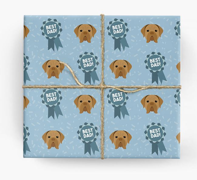 'Best Dad' Ribbon Wrapping Paper with Dogue de Bordeaux Icons