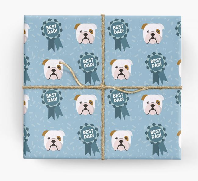 'Best Dad' Ribbon Wrapping Paper with English Bulldog Icons