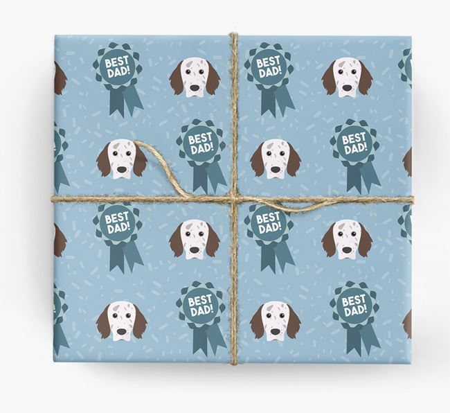 'Best Dad' Ribbon Wrapping Paper with English Setter Icons