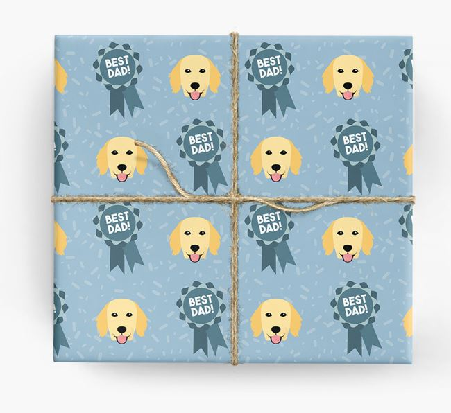 'Best Dad' Ribbon Wrapping Paper with Flat-Coated Retriever Icons