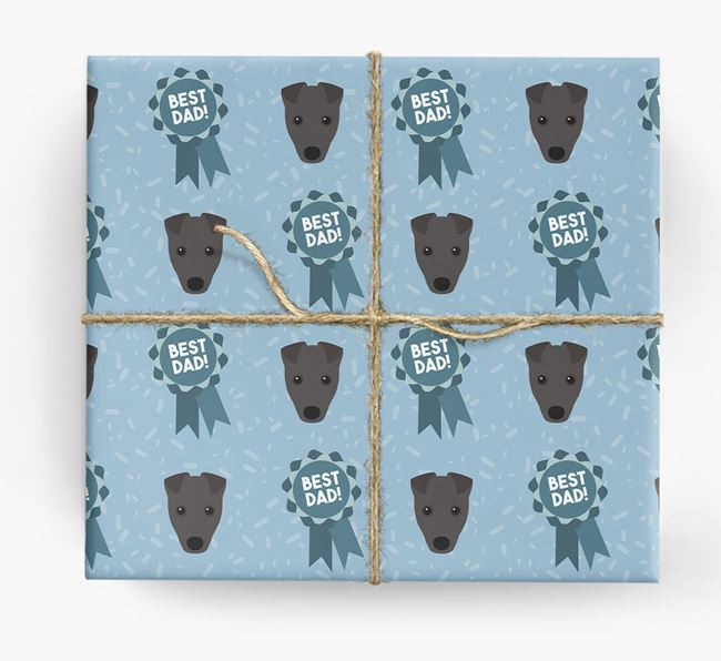 'Best Dad' Ribbon Wrapping Paper with Fox Terrier Icons