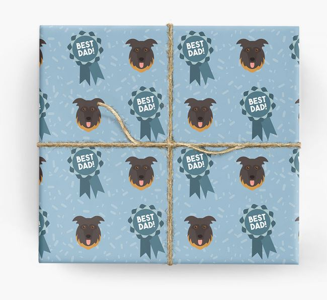'Best Dad' Ribbon Wrapping Paper with German Shepherd Icons