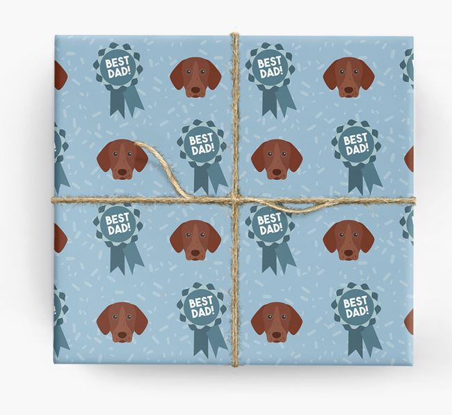 'Best Dad' Ribbon Wrapping Paper with German Shorthaired Pointer Icons