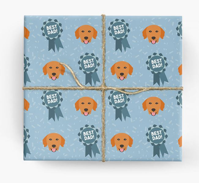 'Best Dad' Ribbon Wrapping Paper with Golden Retriever Icons