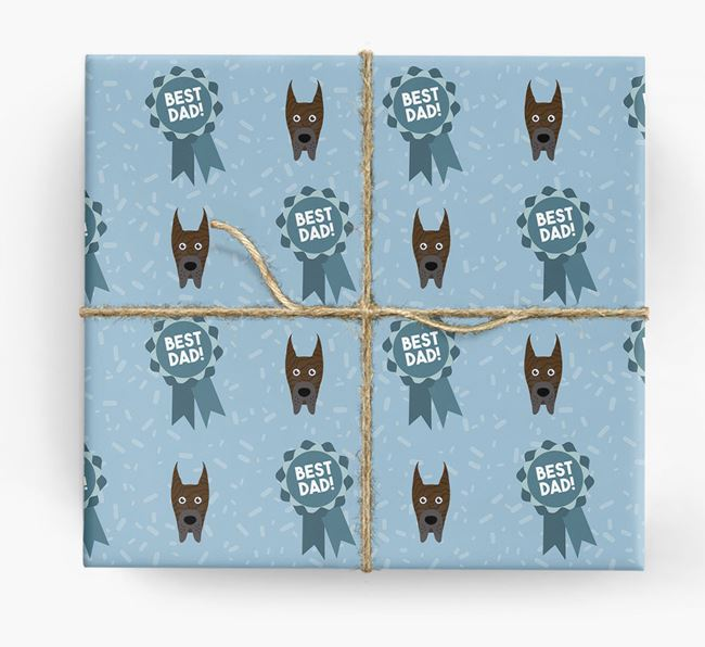 'Best Dad' Ribbon Wrapping Paper with Great Dane Icons