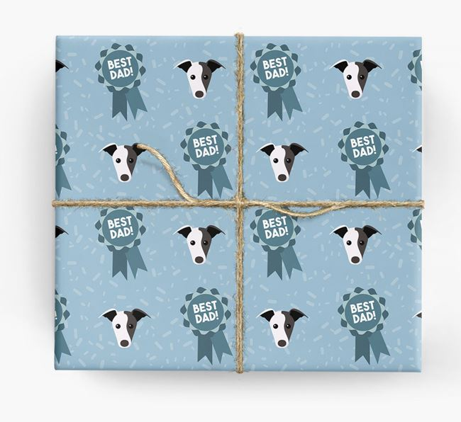 'Best Dad' Ribbon Wrapping Paper with Greyhound Icons