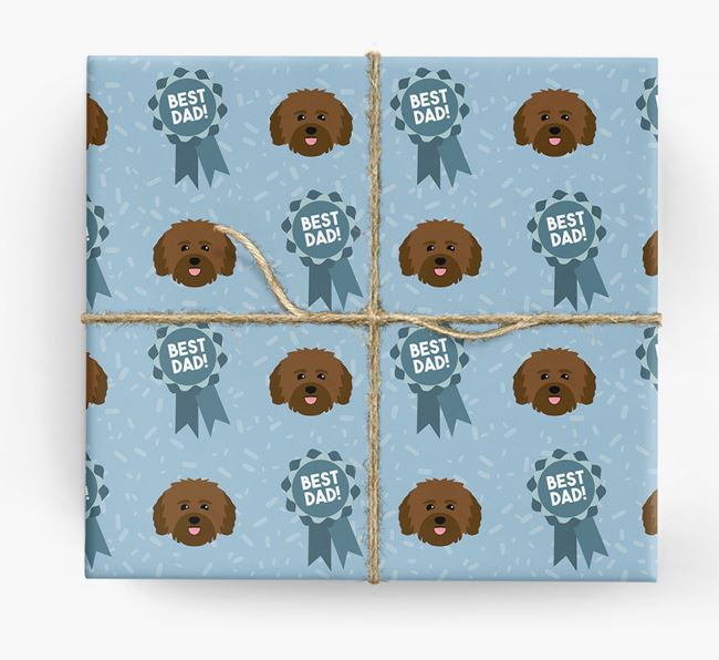 'Best Dad' Ribbon Wrapping Paper with Havanese Icons