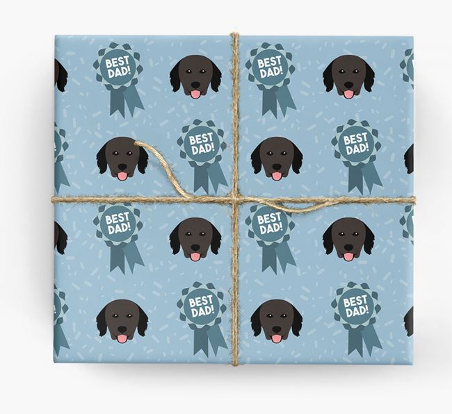 'Best Dad' Ribbon Wrapping Paper with Hovawart Icons
