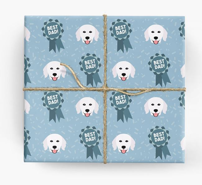 'Best Dad' Ribbon Wrapping Paper with Hungarian Kuvasz Icons