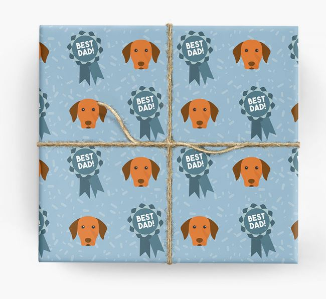 'Best Dad' Ribbon Wrapping Paper with Dog Icons