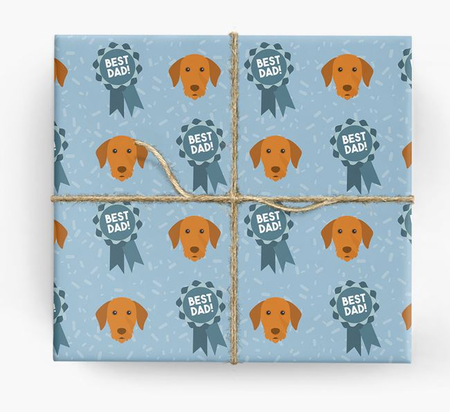 'Best Dad' Ribbon Wrapping Paper with Hungarian Vizsla Icons