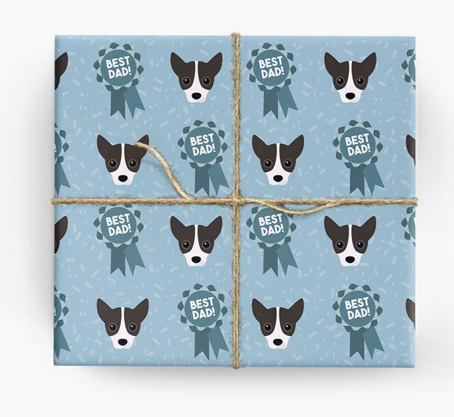 'Best Dad' Ribbon Wrapping Paper with Jackahuahua Icons