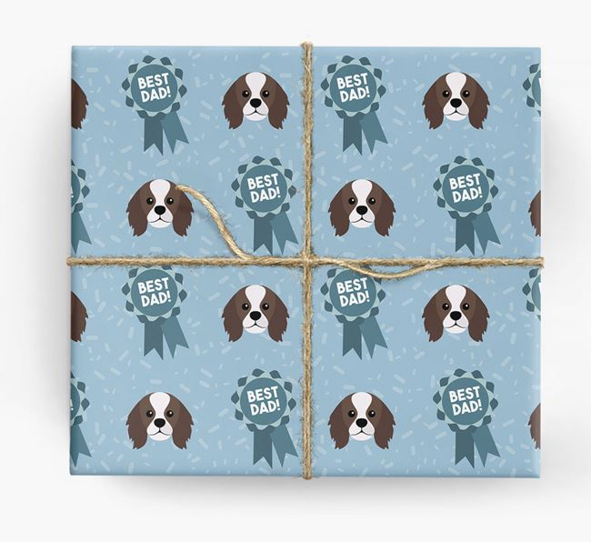 'Best Dad' Ribbon Wrapping Paper with King Charles Spaniel Icons