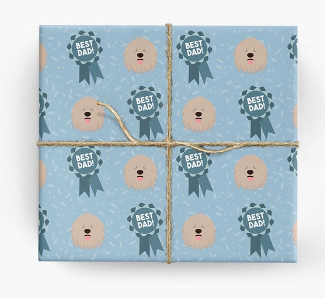 'Best Dad' Ribbon Wrapping Paper with Komondor Icons