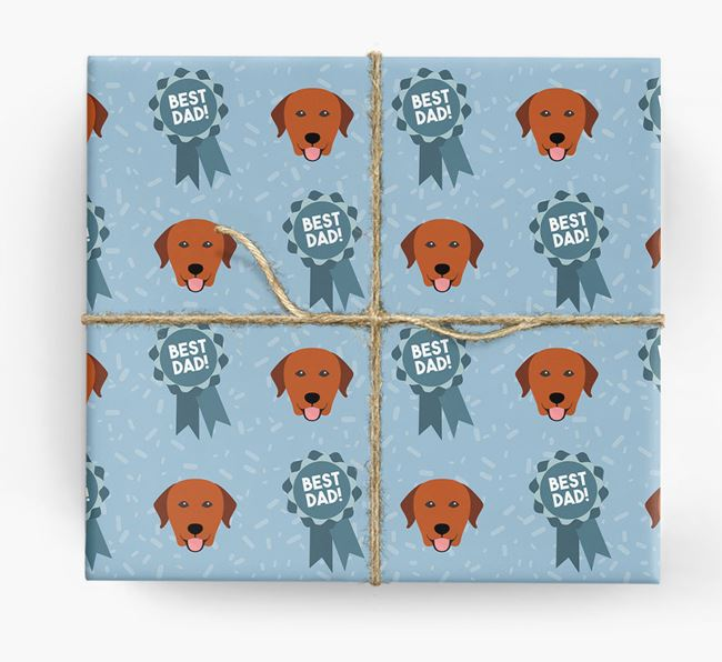 'Best Dad' Ribbon Wrapping Paper with Labrador Retriever Icons