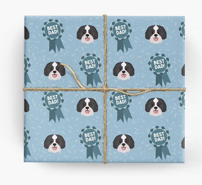 'Best Dad' Ribbon Wrapping Paper with Lachon Icons