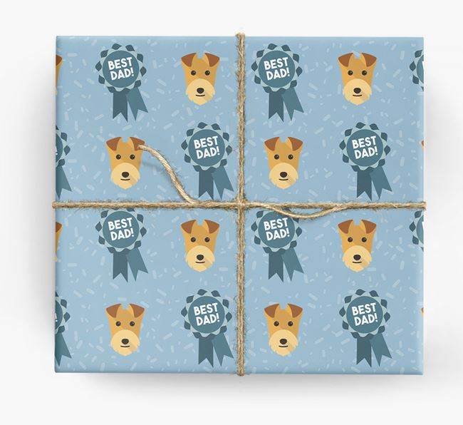 'Best Dad' Ribbon Wrapping Paper with Lakeland Terrier Icons