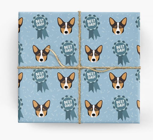 'Best Dad' Ribbon Wrapping Paper with Lancashire Heeler Icons