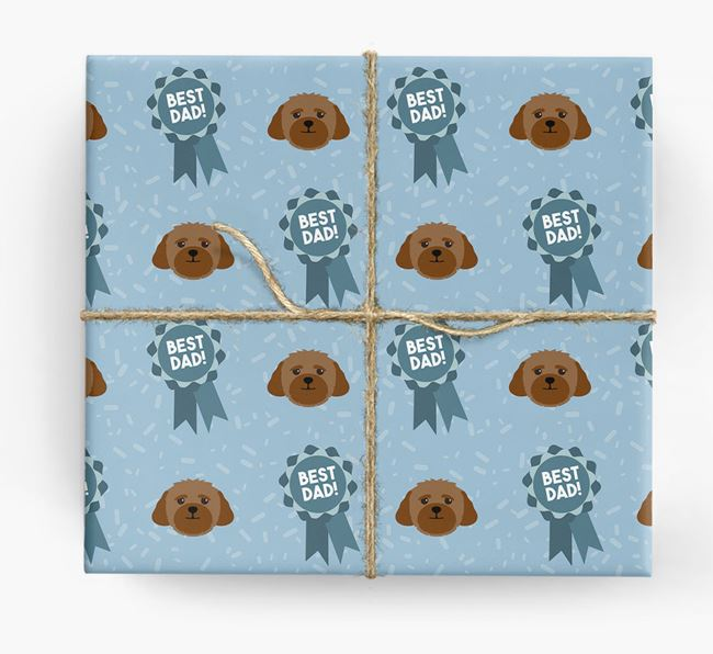 'Best Dad' Ribbon Wrapping Paper with Lhasapoo Icons