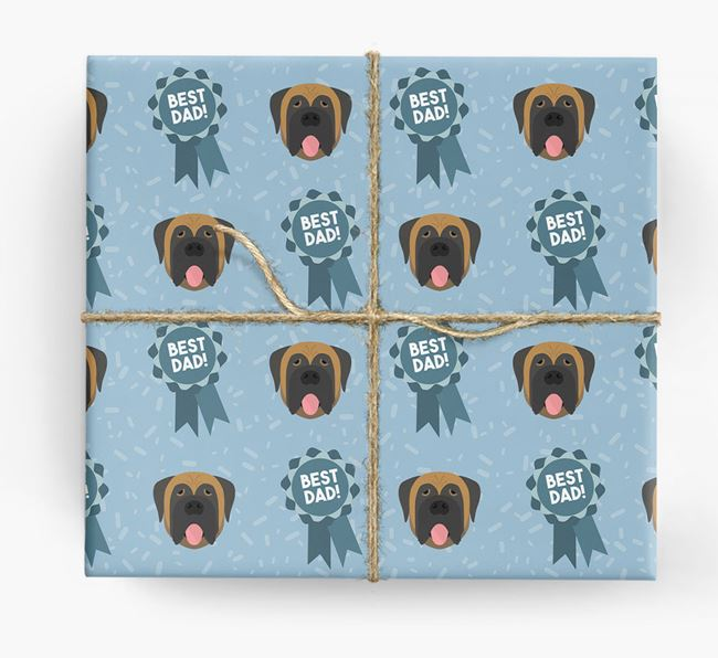 'Best Dad' Ribbon Wrapping Paper with Mastiff Icons