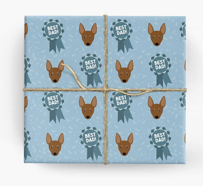 'Best Dad' Ribbon Wrapping Paper with Miniature Pinscher Icons