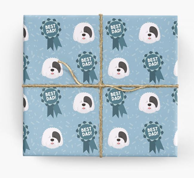 'Best Dad' Ribbon Wrapping Paper with Old English Sheepdog Icons