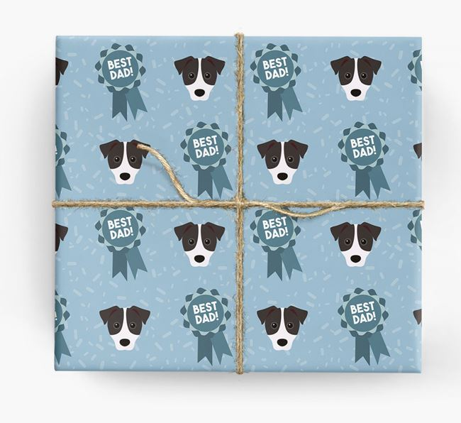 'Best Dad' Ribbon Wrapping Paper with Parson Russell Terrier Icons