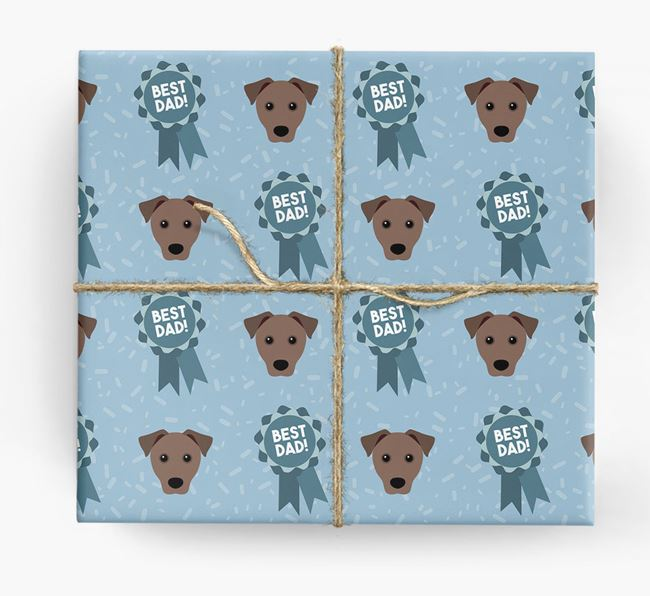 'Best Dad' Ribbon Wrapping Paper with Patterdale Terrier Icons