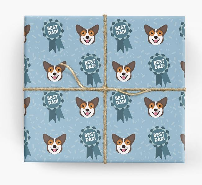 'Best Dad' Ribbon Wrapping Paper with Pembroke Welsh Corgi Icons