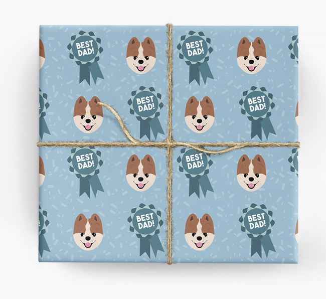 'Best Dad' Ribbon Wrapping Paper with Pomeranian Icons