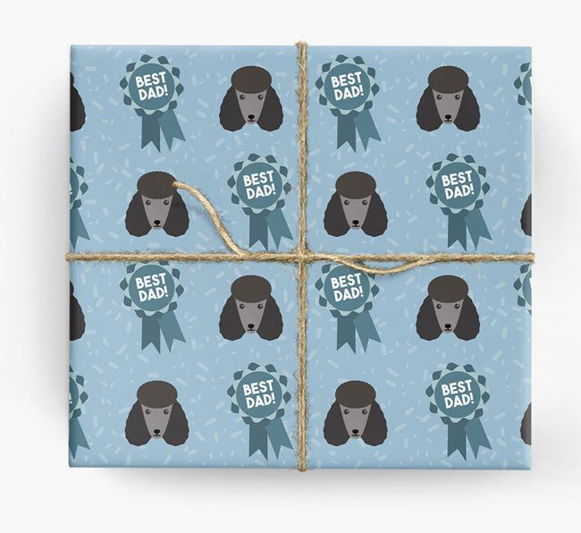 'Best Dad' Ribbon Wrapping Paper with Poodle Icons