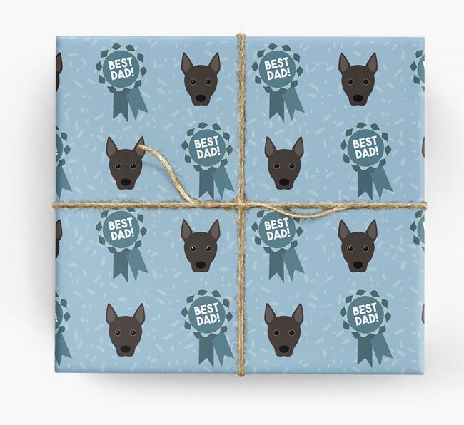 'Best Dad' Ribbon Wrapping Paper with Portuguese Podengo Icons