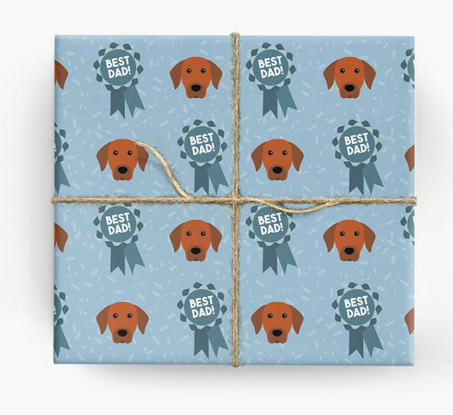'Best Dad' Ribbon Wrapping Paper with Rhodesian Ridgeback Icons