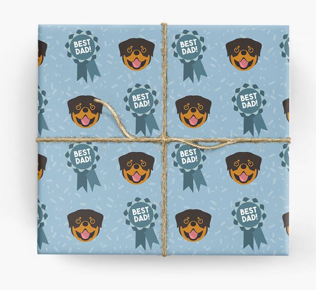 'Best Dad' Ribbon Wrapping Paper with Rottweiler Icons