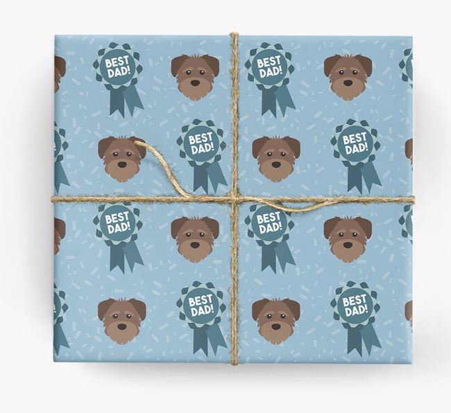 'Best Dad' Ribbon Wrapping Paper with Schnoodle Icons