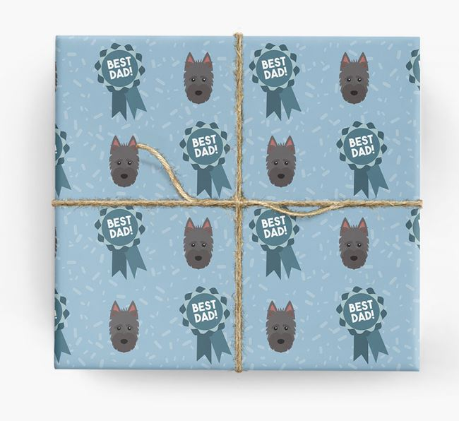 'Best Dad' Ribbon Wrapping Paper with Scottish Terrier Icons