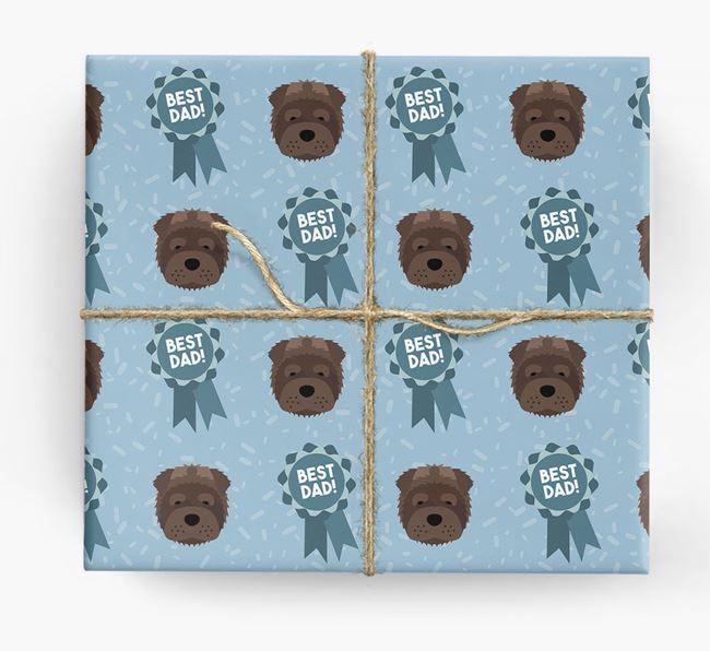 'Best Dad' Ribbon Wrapping Paper with Shar Pei Icons