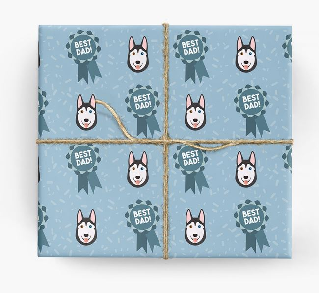 'Best Dad' Ribbon Wrapping Paper with Siberian Husky Icons