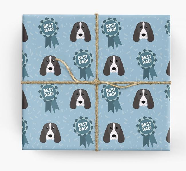 'Best Dad' Ribbon Wrapping Paper with Springer Spaniel Icons