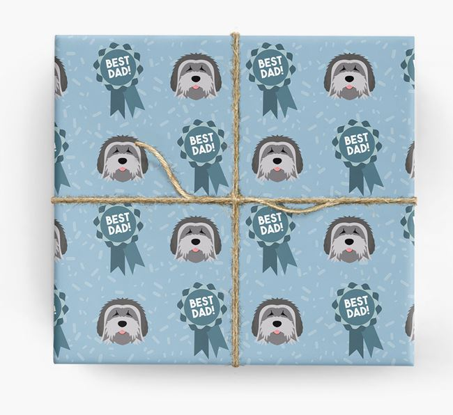 'Best Dad' Ribbon Wrapping Paper with Tibetan Terrier Icons