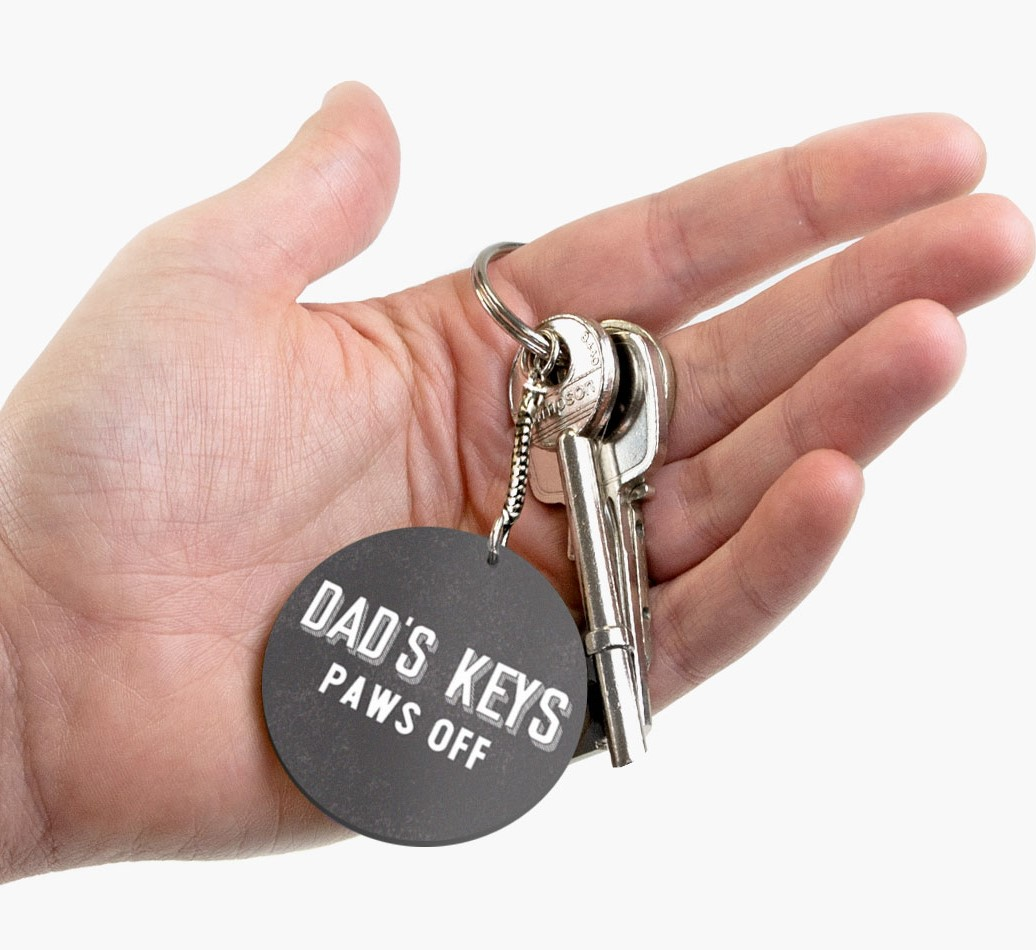 Double-sided 'Dad's Keys' Keyring Front on hand