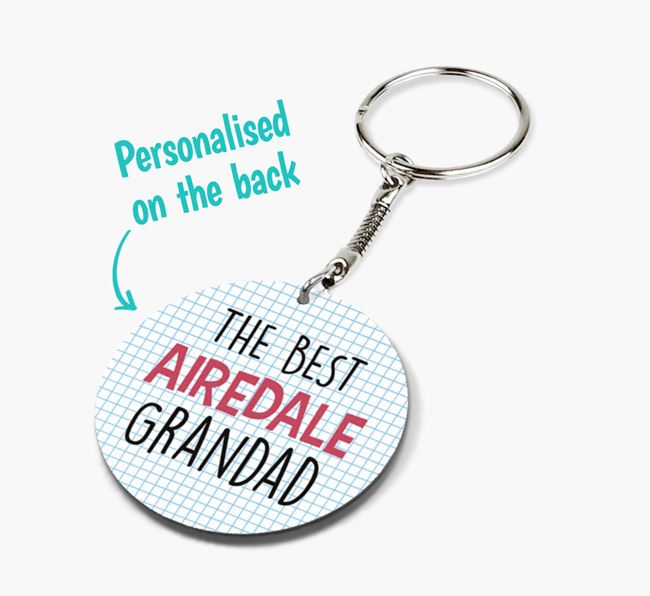 Double-sided 'Best 'Airedale Grandad' Keyring