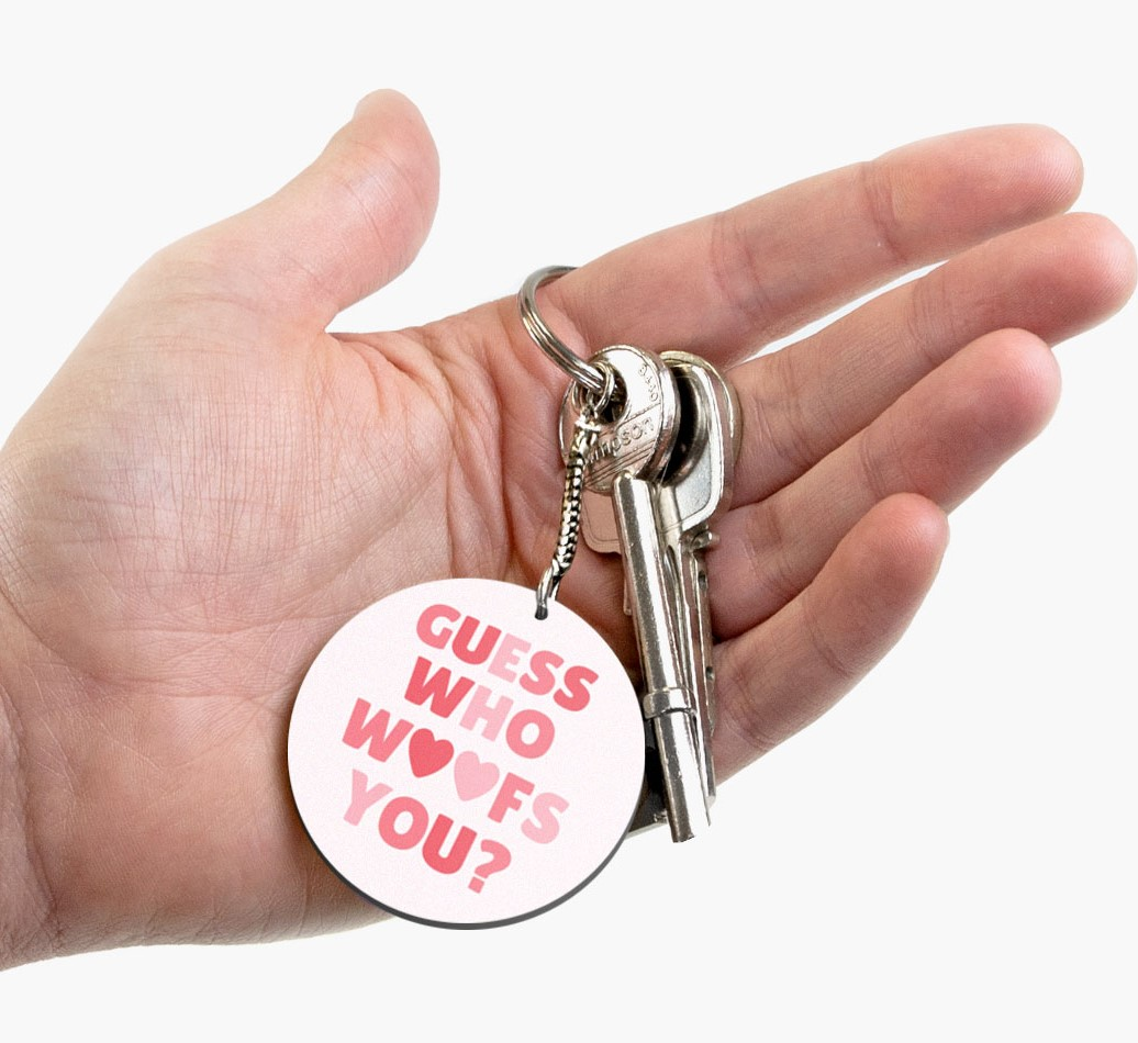 Double-sided 'Guess Who Woofs You' Keyring with Cocker Spaniel Icon