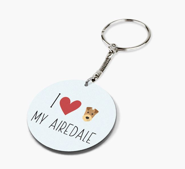 Double-sided 'I heart my Airedale' Keyring
