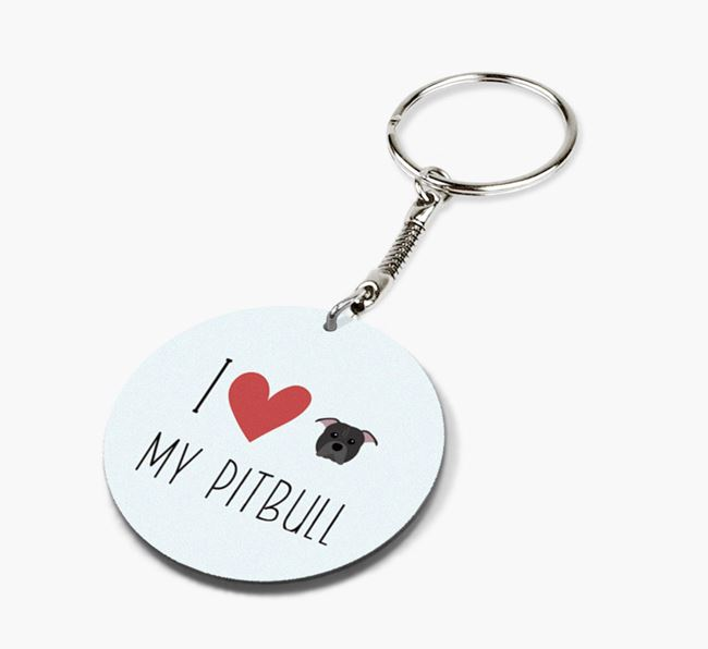 Double-sided 'I heart my Pitbull' Keyring