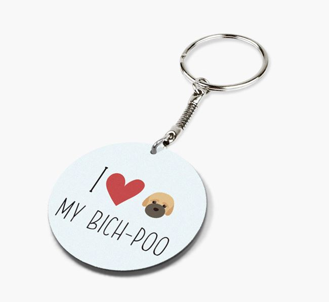 Double-sided 'I heart my Bich-poo' Keyring