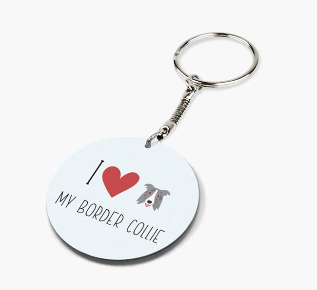Double-sided 'I heart my Border Collie' Keyring